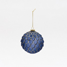 BALL GLASS DIAM.10CM BLUE WITH GOLD GLITTER DECORATION - I/C  6/48