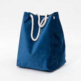 BAG VELVET DIM. 34X37X48 CM H BLUE WITH GOLD HANDLE                        - I/C  20/20